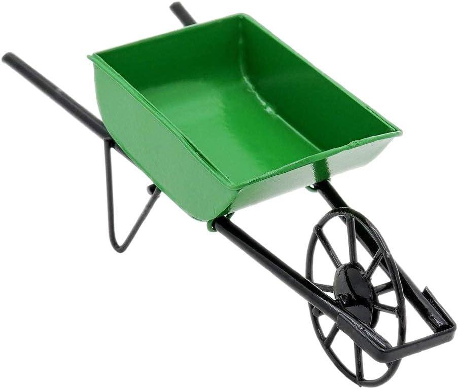 Odoria 1:12 Miniature Green Wheelbarrow Push Cart Dollhouse Fairy Garden Accessories