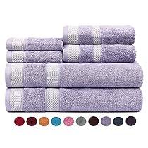 Casa Copenhagen Solitaire Cotton 17.70 oz/yd² thick 6 pieces Bath, Hand & Washcloth/Face Towels Set - Mistic Lavender