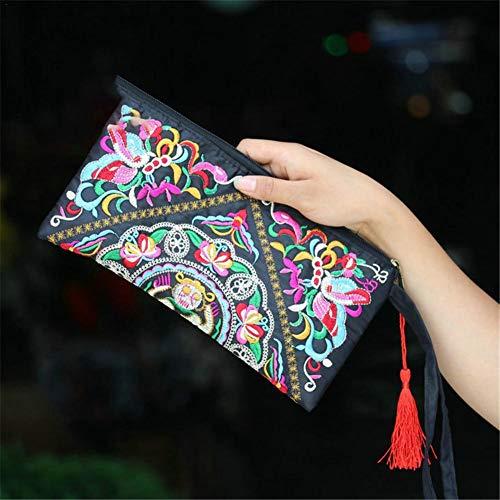 nazione Zip Handbag per stile ricamo Borsa frizione delle etnici retrò B Lady squisita frizione Handmade ricamato ricamato portafoglio ricamato donne alla moda braccialetti Borsa Portafogli raso borsa wq4tAYxvx