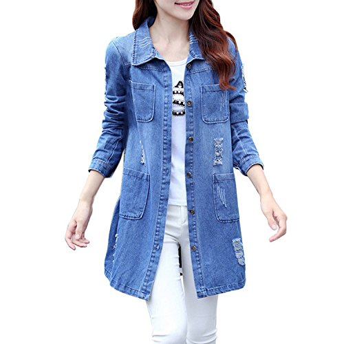 Long Jeanss Jackets Cotton Clothing Denim Loose Casual Sleeve Kidly Women Coats 1 HqX404