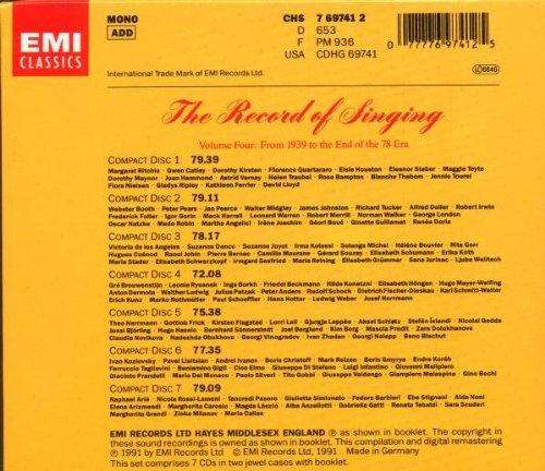 The Record of Singing, Vol. 4: From 1939 To The End of the 78 Era