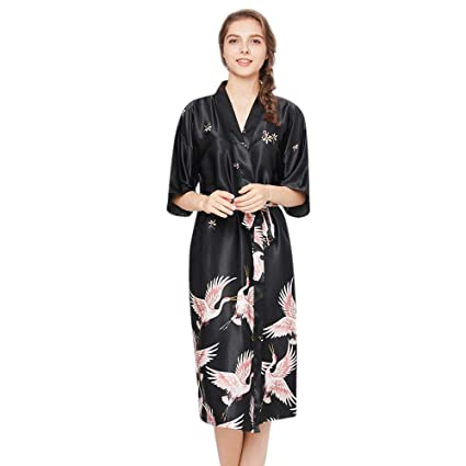 a5ceea890b Lumumi Lingerie Womens Satin Kimono Robe Printed Bathrobes Bridal Dressing  Gown Long Robe Satin Lounge (Black
