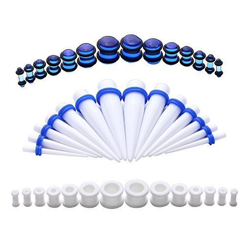 BodyJ4You 42PC Gauges Kit Ear Stretching 8G-12mm Tapers Plugs White Silicone Blue Acrylic Set