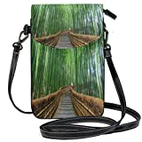 Bamboo Forest Chinese Landscape Nature Summer Small Crossbody Bag, Cell Phone Purse Wallet with 2 Adjustable Shoulder Strap Handbag for Women