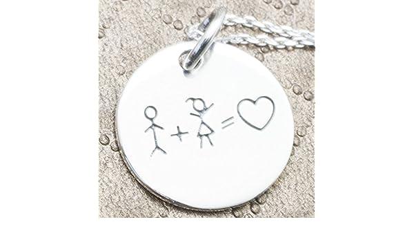 42cecee3e7c7 Collar de Plata de 1ªLEY 925. Cadena con chapa grabada laser nena y nene  igual a AMOR  Amazon.es  Handmade