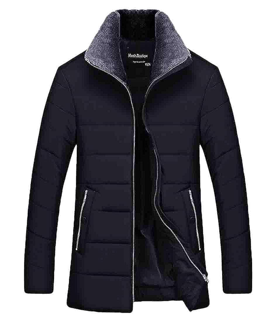 XiaoTianXinMen XTX Men Hooded Thicken Work Thermal Full-Zip Fleece Lined Packable Down Jacket