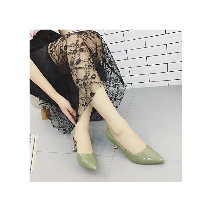 Kphy-wild Colore Solide Scarpe Da Donna In Autunno La Nuova Punta Fine Con High-heeled Cat Seguito Aria Laterale Singola Calzatura Light-painted Pelle Verde