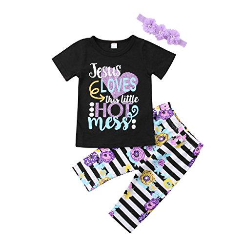 YAZAD 3Pcs Kids Toddler Baby Girl Short Sleeve T-Shirt Tops+Floral Pants+Headband Outfits (Black+Purple, 3-4 Years) Jesus Toddler Shirt