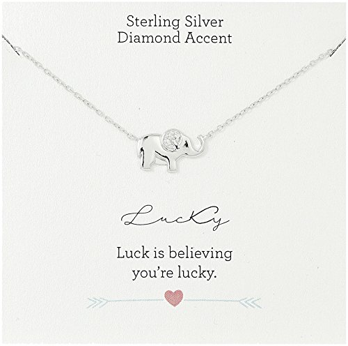 Diamond Accent Pendant Elephant (Sterling Silver Diamond Accent Lucky Elephant Pendant Necklace, 18