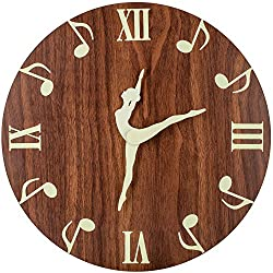 Luminous Wall Clock, Creative Ballet Dancing and Musical Notes, Silent Non-Ticking Battery Operated, Retro Decorative Clock for Living/Dining/Kids Bedroom/Kitchen (12 Inch Wood Grain)