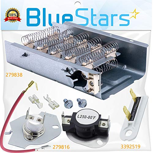 279838 & 279816 & 3392519 Dryer Heating Element and Thermal Cut-off Fuse Kit Replacement by Blue Stars – Exact Fit For Whirlpool & Kenmore ()