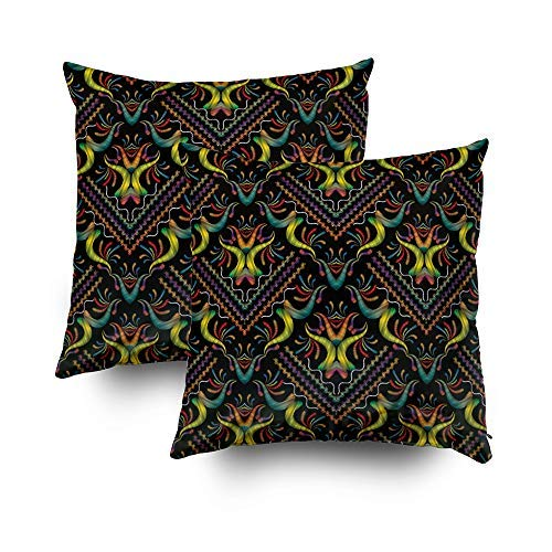 MurielJerome 18X18 Inch 2 Set Colorful Embroidery Floral Damask Flowers Swirls Curves Grunge Ornaments Decorative Throw Pillow Case Cushion Cover Gift Home Decor