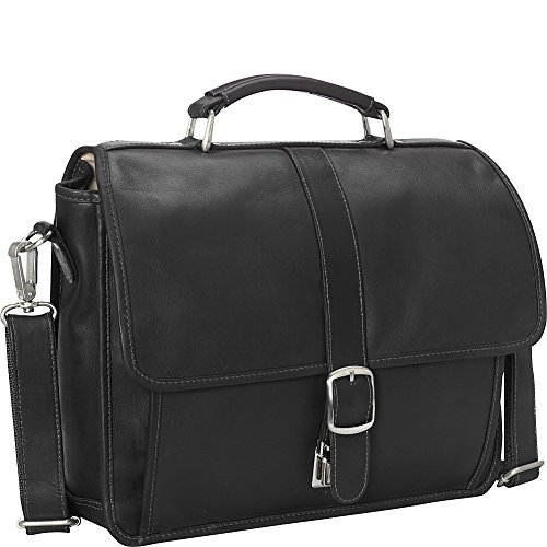 Piel Flap Small Leather (Piel Leather Small Flap-Over Laptop Tablet Brief, Black, One Size)