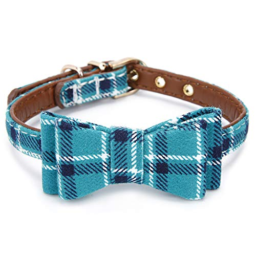 StrawberryEC Extra Small Dog and Cat Collar with Cute Plaid Bowtie. Adjustable 5 Holes to Also Fit Puppy and Kitten. Quality PU Leather and Durable Polyester (Bowtie-Peacock Green Plaid)