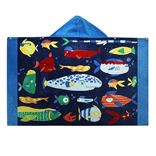 (Violet Mist Kid Hooded Bath Towel Cotton Beach Poncho Towel for Boys Toddlers (Fish) )