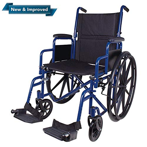 "Carex Wheelchair with Large 18"" Padded Seat – Lightweight with Adjustable and Removable Swing-Away Footrests – Folding Chair for Compact Storage – 250lb Capacity"