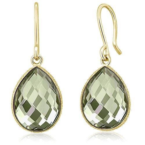 Gem Stone King 13.00 Ct Green Amethyst 16x12mm Pear Shape Gold Plated Silver Dangle Earrings