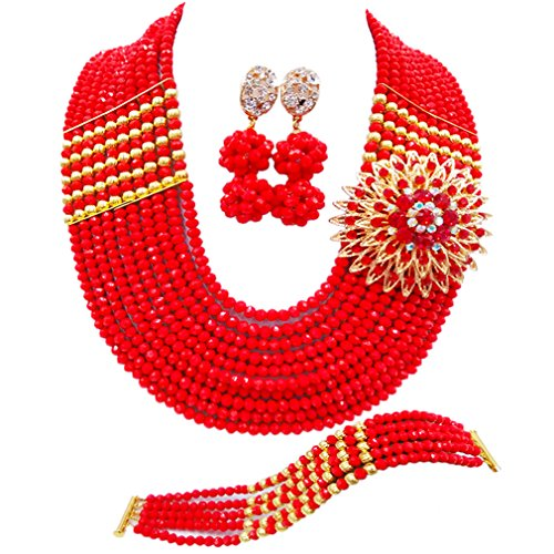 aczuv Nigerian Jewelry for Women African Wedding Necklace Set Crystal Beaded Bridal Jewelry Sets (Opaque Red)