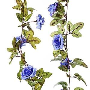 Evoio 2 PCS 17 Heads 7.2 Ft/Artificial Rose Vine Flowers Plants Fake Flower Vine, For Hotel Wedding Home Party Garden Craft Art (Blue) 10