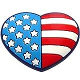 USA Flag Heart Rubber Charm Jibbitz Croc Style