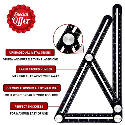 Amenitee Angle Layout Measuring Ruler Universal Angularizer Ruler - Full Metal Multi Angle Measuring Tool-Upgraded Aluminum Alloy Ruler (Black)