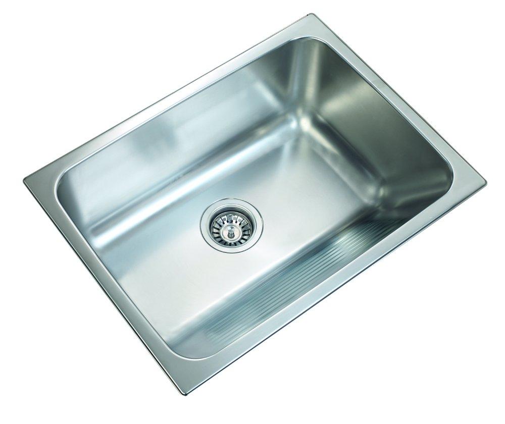 Ukinox D610.457 Modern Dual Mount Single Bowl Stainless Steel Laundry Sink