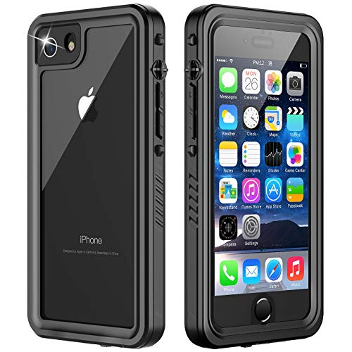 Temdan iPhone 8 Case, iPhone 7 Case, 360 Full-Body Built in Screen Protector Real Heavy Duty Rugged Shockproof Dustproof Case Support Wireless Charging for iPhone 7/8 4.7 inch (Black/Clear)