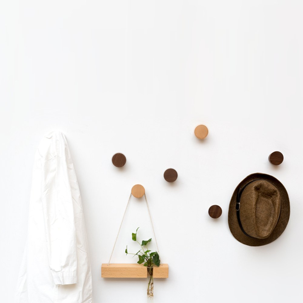 2Pcs Natural Wooden Coat Hooks, Wall Mounted Single Cone Wall Hook Rack, Decorative Craft Clothes Hooks (Beech Wood) by Sichou-Room (Image #6)