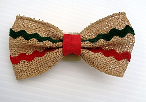 Burlap Ribbon Dog Bow Tie with Novelty Ric Rac Trim - Hook and Loop Fastener - Trim Fiber Loop