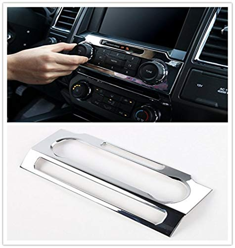 For Ford F-150 F150 2015 2016 2017 ABS Chrome Car CD Music Media Audio Volume Adjust Panel Frame Interior Cover Decor Sticker Trim (Silver)