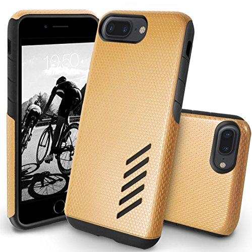 Funda iPhone 8 Plus, Orzly® Grip-Pro Case para iPhone 7 PLUS/iPhone 7 PLUS (5,5 Pulgadas Modelo Teléfono Móvil) - Funda durable y ligero Capa Doble de mayor agarre y defensa - AZUL ACERO ORO CHAMPAGNE GripPro para iPhone 7 PLUS