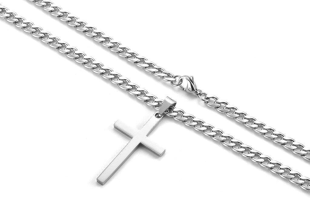 Halskette Kreuz Anhänger Edelstahl Herren Panzerkette Zubehör Schmuck Gesch V4T2
