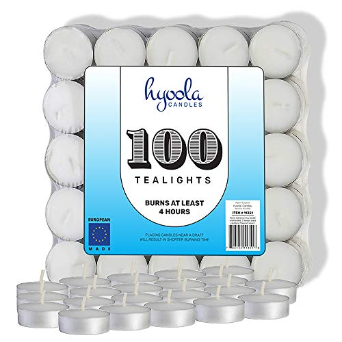(Hyoola Tea Lights Candles - 100 Bulk Candles Pack - European Quality White Unscented Tealight Candles - 4 Hour Burn Time)