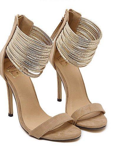 LFNLYX Zapatos de mujer-Tacón Stiletto-Tacones / Plataforma / Punta Abierta-Sandalias-Vestido-Vellón-Negro / Almendra almond