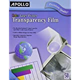 Apollo Color Laser Printer Transparency Film without Sensing Stripe, 8.5 x 11 Inches, 50 Sheets per Box (VCG7070)