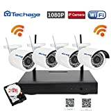 Techage Wifi Security System/ Wireless CCTV System Outdoor/ Indoor, 4CH 1080P 2.0MP Waterproof IP Camera, 65ft Night Vision, Plug & Play, 36 Led Lights Home Security Surveillance Kits With 2tb HDD Review