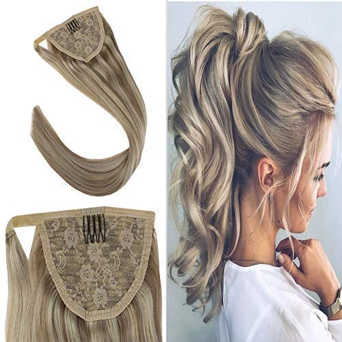 Youngsee 16Inch Ponytail Extensions Wrap Around Clip in Ponytail Human Hair Straight Dark Ash Blonde with Bleach Blonde Highlight One Piece Remy Hair Extensions Ponytail For Women 80G/Pack
