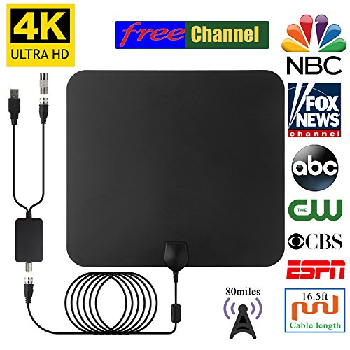 Ge Professional Range - 2018 NEWEST HDTV Air Antenna for Digital TV Indoor 80 Miles Long Range for Local Channels with USB Powered Digtal Amplifier Signal Booster, 16.5 FT High Performance Coaxial Cable, Free TV for Life