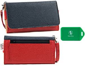 Blu Life Play L100 Universal Ladies wristlet wallet in [TWO-TONED] RED/NAVY BLUE Plus bonus Neviss luggage tag