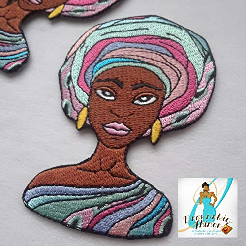 Shanel Patch -3.7x2.5 - Afrocentric Patches - Iron On - Embroidery - Black Girl Magic - DIY ()