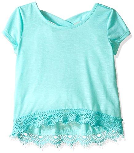 Girls Short Sleeve Knit Top (My Michelle Big Girls' Short Sleeve Knit Top with Crossover Back and Lace Hemline Detail, Mint,)