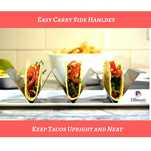 Taco Holder 4 Pack - Stainless Steel Taco Stand with No Slip Side Handles - Serve your Tacos, Fajita Mess Free - Metal Racks Holders for Taco Shell, Tortilla, Burrito And More. Oven And Grill Safe by Ultimate Hostess (Image #4)
