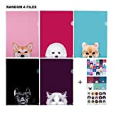 Document Sheet Protector Cute Animal Design File Folder/ A4 Size, 4 Random Designs (All Different)