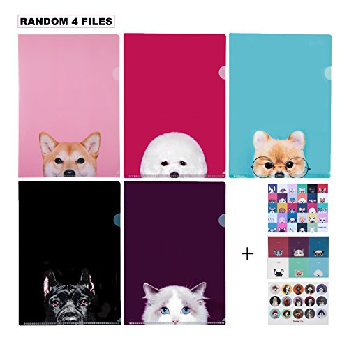 Document Sheet Protector Cute Animal Design File Folder/ A4 Size, 4 Random Designs (All Different) -