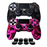 Hikfly Silicone Gel Controller Cover Skin Protector Kits for Sony Playstation 4 PS4/PS4 Slim/PS4 Pro Controller Video Games(2x Controller Cover with 8 x FPS Pro Thumb Grip Caps)(Grey,Peach)