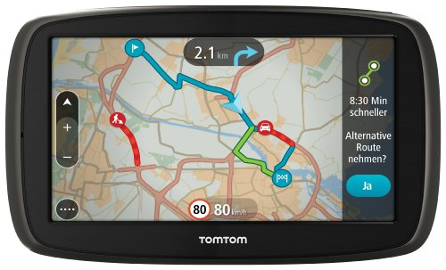 TomTom GO 60 Europe Traffic Navigationssystem (15 cm (6 Zoll) resistives Touch Display - Bedienung per Fingergesten, Lifetime TomTom Traffic & Maps)