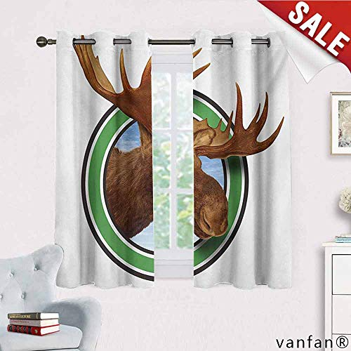 Big datastore Moose Curtain Set for Bathroom,Deer Head Inside The Forest Sign of Northern Fauna from Wilderness Nature Graphic Multicolor Printed,Brown Green W63 x L63 ()