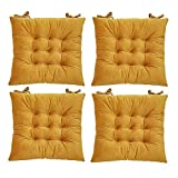 """[HISY UPDATE]Chair Pads And Cushions , Indoor window seat cushions ,Seat Cushion Dining Chair yellow 4 Pack 15""""x15""""x2""""/piece"""
