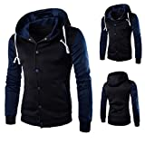 Mens Shirt,Haoricu Autumn Winter Men Teens Slim Fit Hoodie Sweatshirt Winter Long Sleeve Coat Jacket (L, Navy)