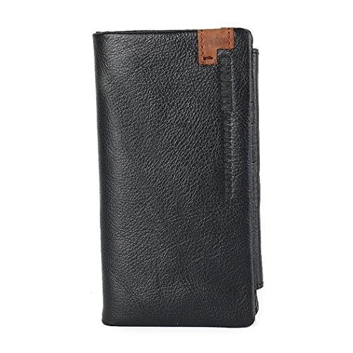 Vintage Brown Leather Trifold Wallet Men RFID-Blocking Black Zip Bifold Full-Size Wallet By (Big Zip Wallet)